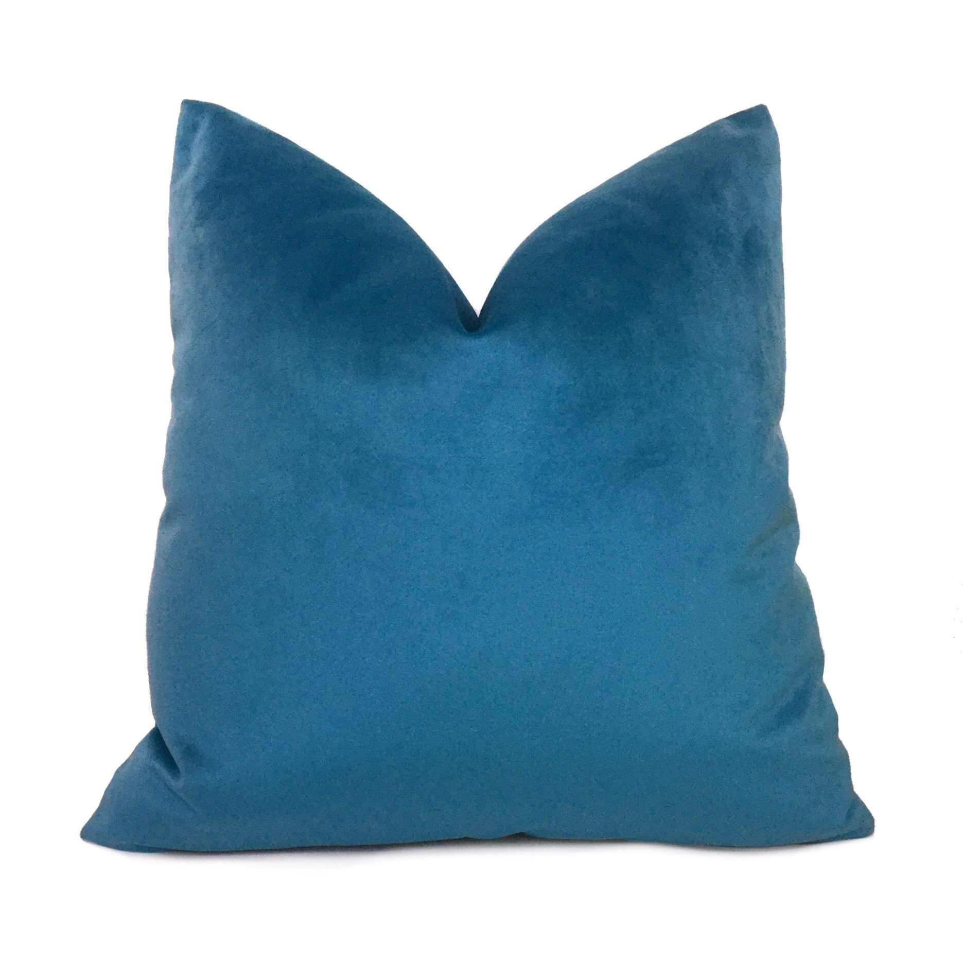 Solid Capri Blue Velvet Pillow Cover Cushion Pillow Case Euro Sham 16x16 18x18 20x20 22x22 24x24 26x26 28x28 Lumbar Pillow 12x18 12x20 12x24 14x20 16x26 by Aloriam