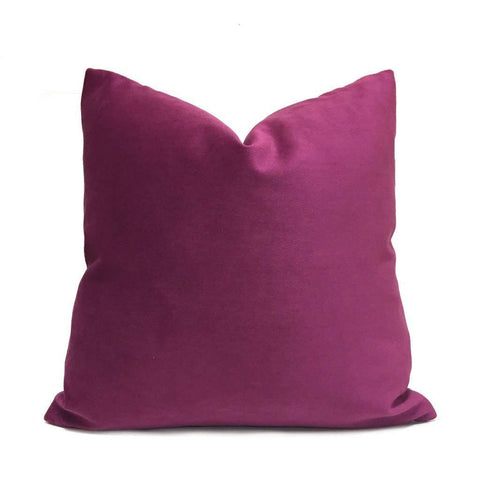 Solid Magenta Purple Brooklyn Velvet Pillow Cover Cushion Pillow Case Euro Sham 16x16 18x18 20x20 22x22 24x24 26x26 28x28 Lumbar Pillow 12x18 12x20 12x24 14x20 16x26 by Aloriam