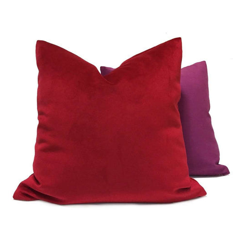 Solid True Red Velvet Pillow Cover
