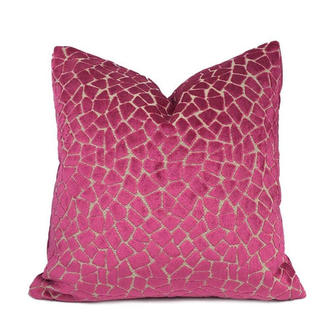 Soren Berry Fuchsia Pink Mosaic Cut Velvet Pillow Cover Cushion Pillow Case Euro Sham 16x16 18x18 20x20 22x22 24x24 26x26 28x28 Lumbar Pillow 12x18 12x20 12x24 14x20 16x26 by Aloriam
