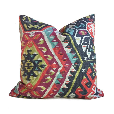 Southwest Ethnic Ikat Aztec Charcoal Gray Red Green Cotton Print Pillow Cover by Aloriam