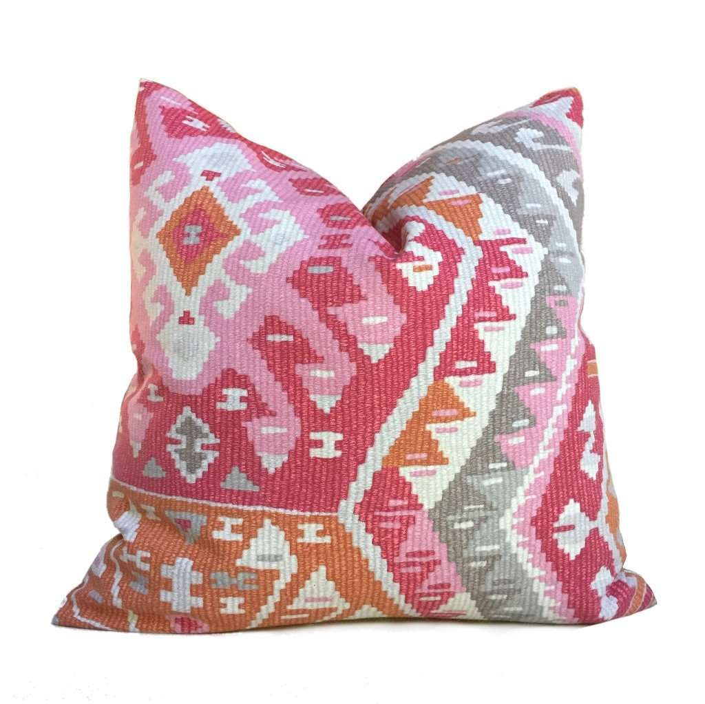 Southwest Ethnic Ikat Aztec Pink Gray Orange Cream Cotton Print Pillow Cover by Aloriam