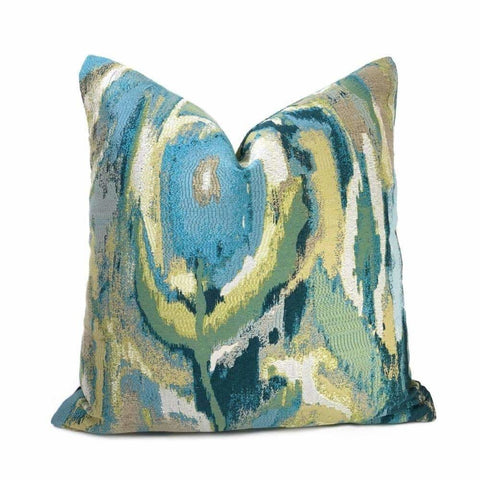St Ives Modern Art Blue Green Beige Multicolor Pillow Cover - Aloriam