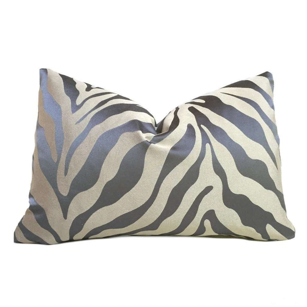 Stout Designer Gray Beige Animal Stripe Pattern Pillow Cover