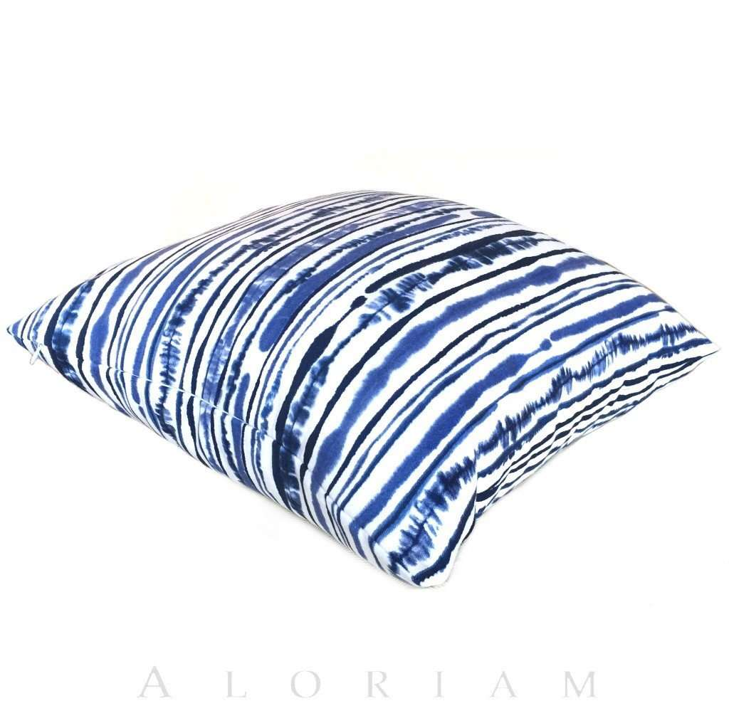 Suburban Home Abstract Lines Blue White Stripes Cotton Print Pillow Cover Cushion Pillow Case Euro Sham 16x16 18x18 20x20 22x22 24x24 26x26 28x28 Lumbar Pillow 12x18 12x20 12x24 14x20 16x26 by Aloriam