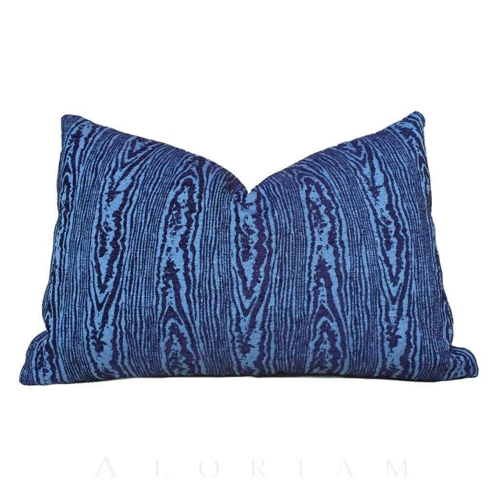 Designer Navy Blue Faux Bois Woodgrain Pattern Texture Upholstery Pillow Cover
