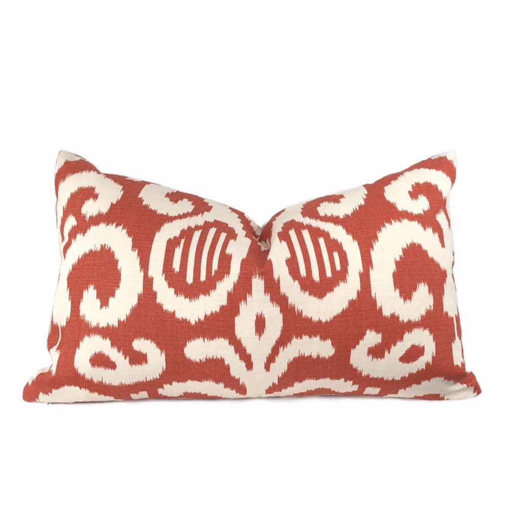 Suburban Home Rust Orange White Ikat Southwest Tribal Abstract Motif Pillow Cushion Cover - Aloriam