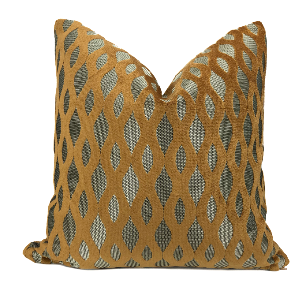 Sullivan Harvest Gold Wavy Stripe Velvet Pillow - Aloriam