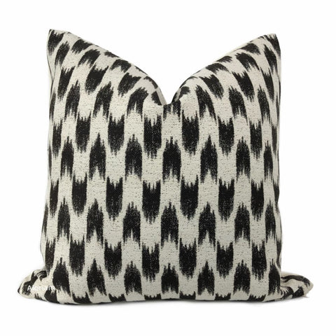 Sumatra Black Cream Ikat Arrows Pillow Cover - Aloriam