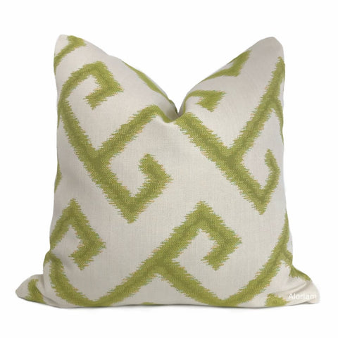 Sunbrella El Greco Greek Key Citron Green Off-White Indoor Outdoor Pillow Cover - Aloriam