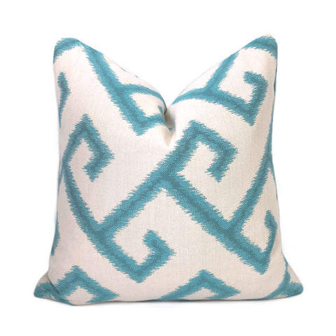 Sunbrella El Greco Greek Key Turquoise Off-White Indoor Outdoor Pillow Cover