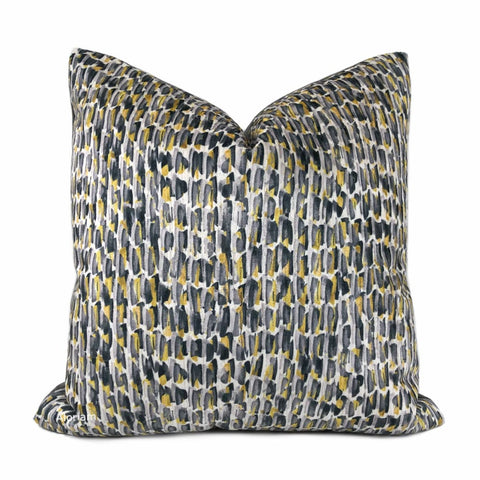 Symon Gray Yellow Abstract Paint Dabs Velvet Pillow Cover - Aloriam