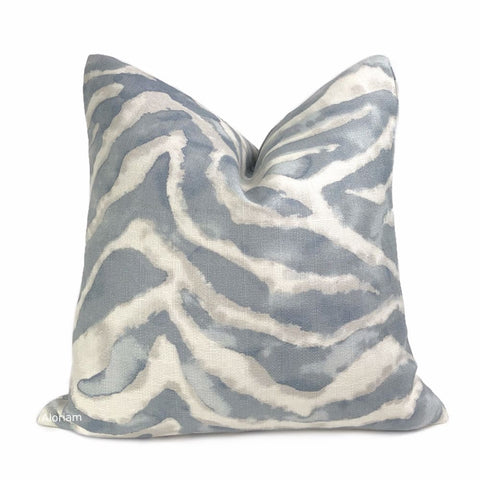 Tadu Slate Gray Watercolor Animal Stripe Pillow Cover - Aloriam