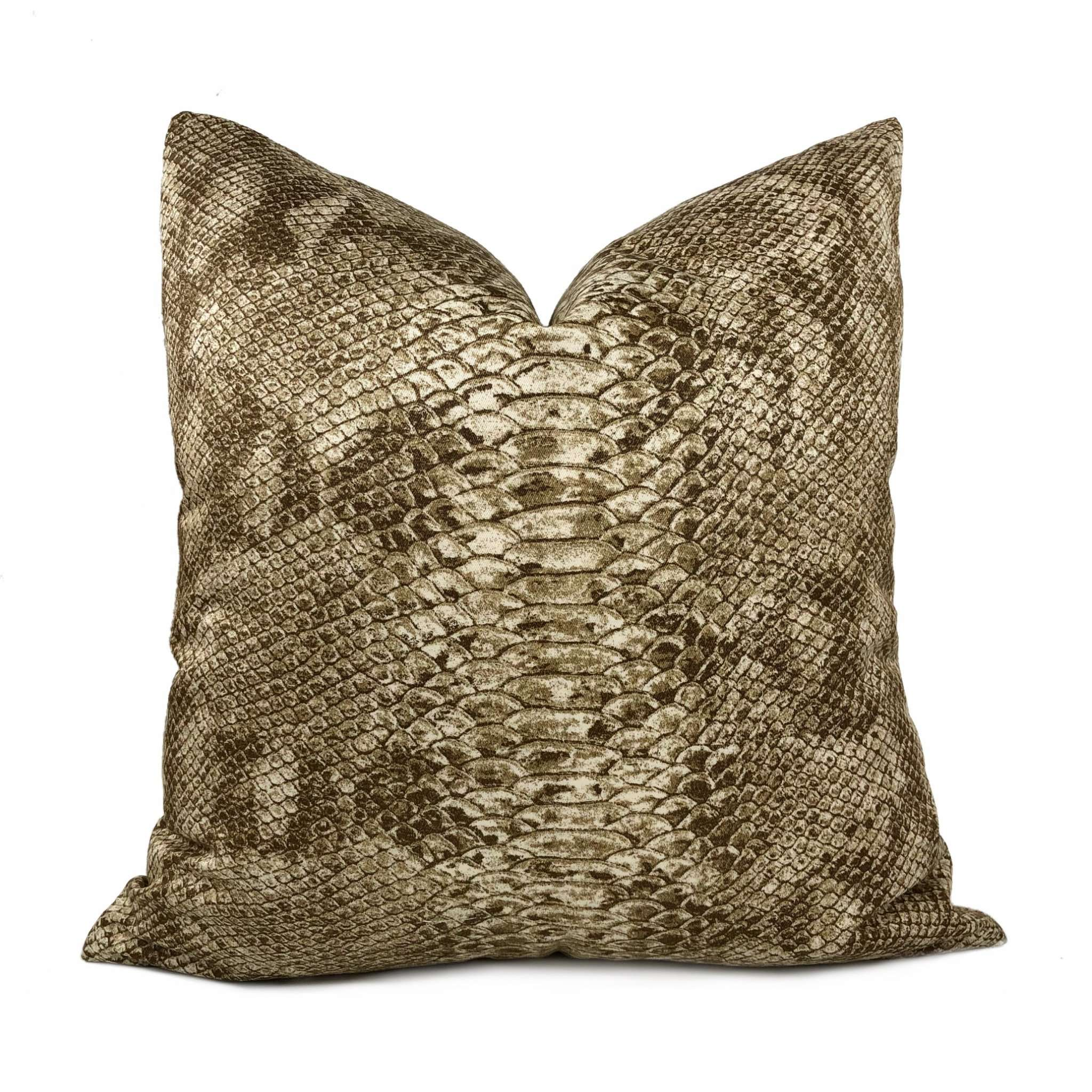 Tan Brown Faux Snakeskin Reptile Cotton Print Pillow Cover