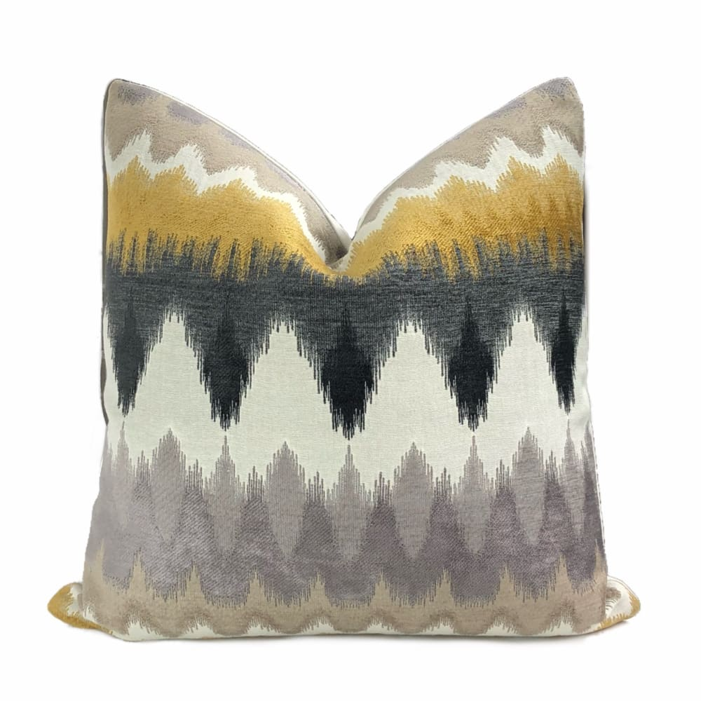 Taos Mustard Yellow Gray Off-White Chevron Stripes Chenille Pillow Cover - Aloriam