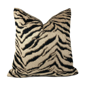 Taupe Black Tiger Stripe Chenille Pillow Cover Cushion Pillow Case Euro Sham 16x16 18x18 20x20 22x22 24x24 26x26 28x28 Lumbar Pillow 12x18 12x20 12x24 14x20 16x26 by Aloriam