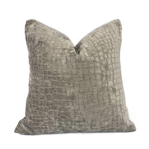 Taupe Brown Crocodile Velvet Pillow Cover