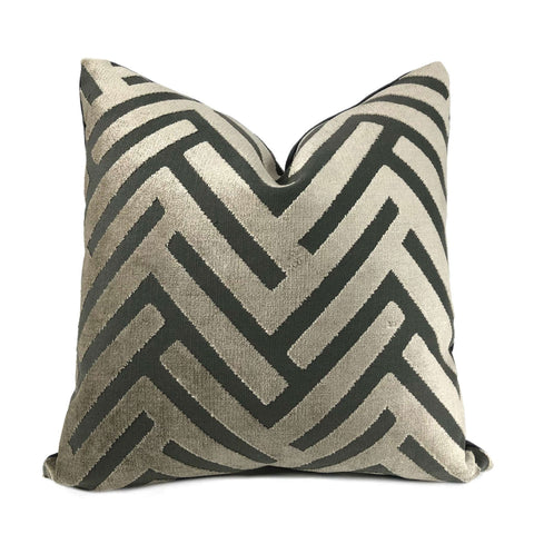 Taupe Gray Geometric Chevron Zig Zag Cut Velvet Texture Pillow Cover Cushion Pillow Case Euro Sham 16x16 18x18 20x20 22x22 24x24 26x26 28x28 Lumbar Pillow 12x18 12x20 12x24 14x20 16x26 by Aloriam