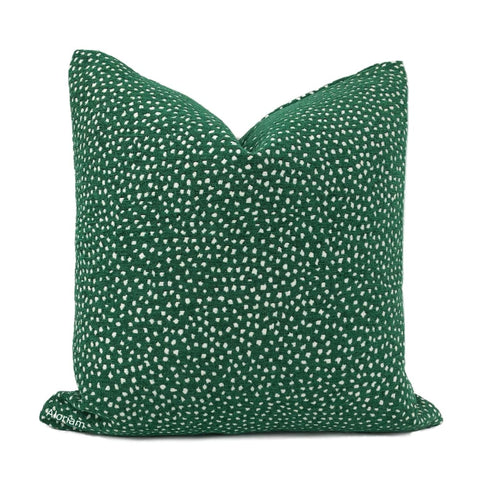 Taylor Emerald Green White Dots Chenille Pillow Cover - Aloriam