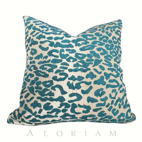 Teal Beige Jungle Cat Leopard Cheetah Animal Spots Pattern Pillow Cushion Cover