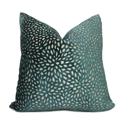 Teal Green Floral Web Velvet Pillow Cover