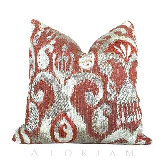 "Terracotta Red Ikat Kilim Southwest Decorative Throw Pillow Cushion Cover, Fits 18""x18"" Inserts Cushion Pillow Case Euro Sham 16x16 18x18 20x20 22x22 24x24 26x26 28x28 Lumbar Pillow 12x18 12x20 12x24 14x20 16x26 by Aloriam"