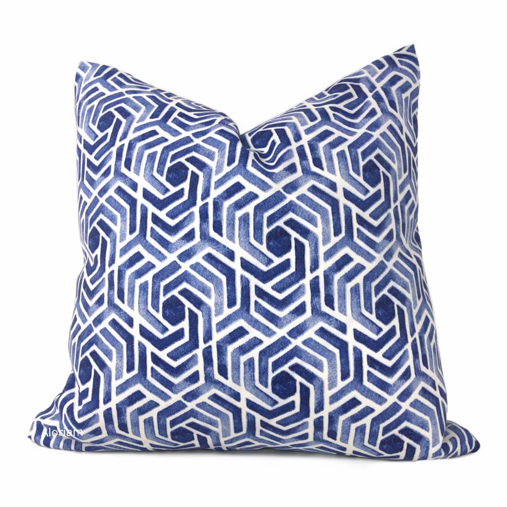 Tesseract Blue White Geometric Indoor Outdoor Pillow Cover - Aloriam