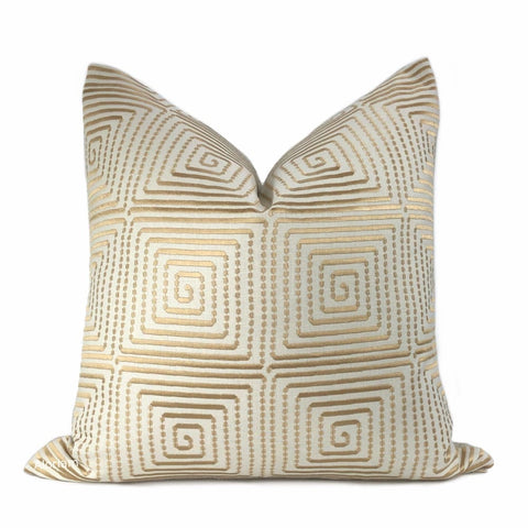 Thalos Coppery Gold Embroidered Grid Pillow Cover - Aloriam