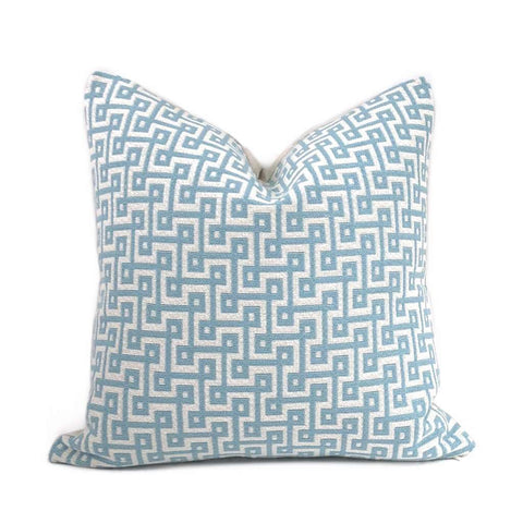 Thibaut Circuit Aqua Blue Cream Geometric Switchback Pillow Cover Cushion Pillow Case Euro Sham 16x16 18x18 20x20 22x22 24x24 26x26 28x28 Lumbar Pillow 12x18 12x20 12x24 14x20 16x26 by Aloriam