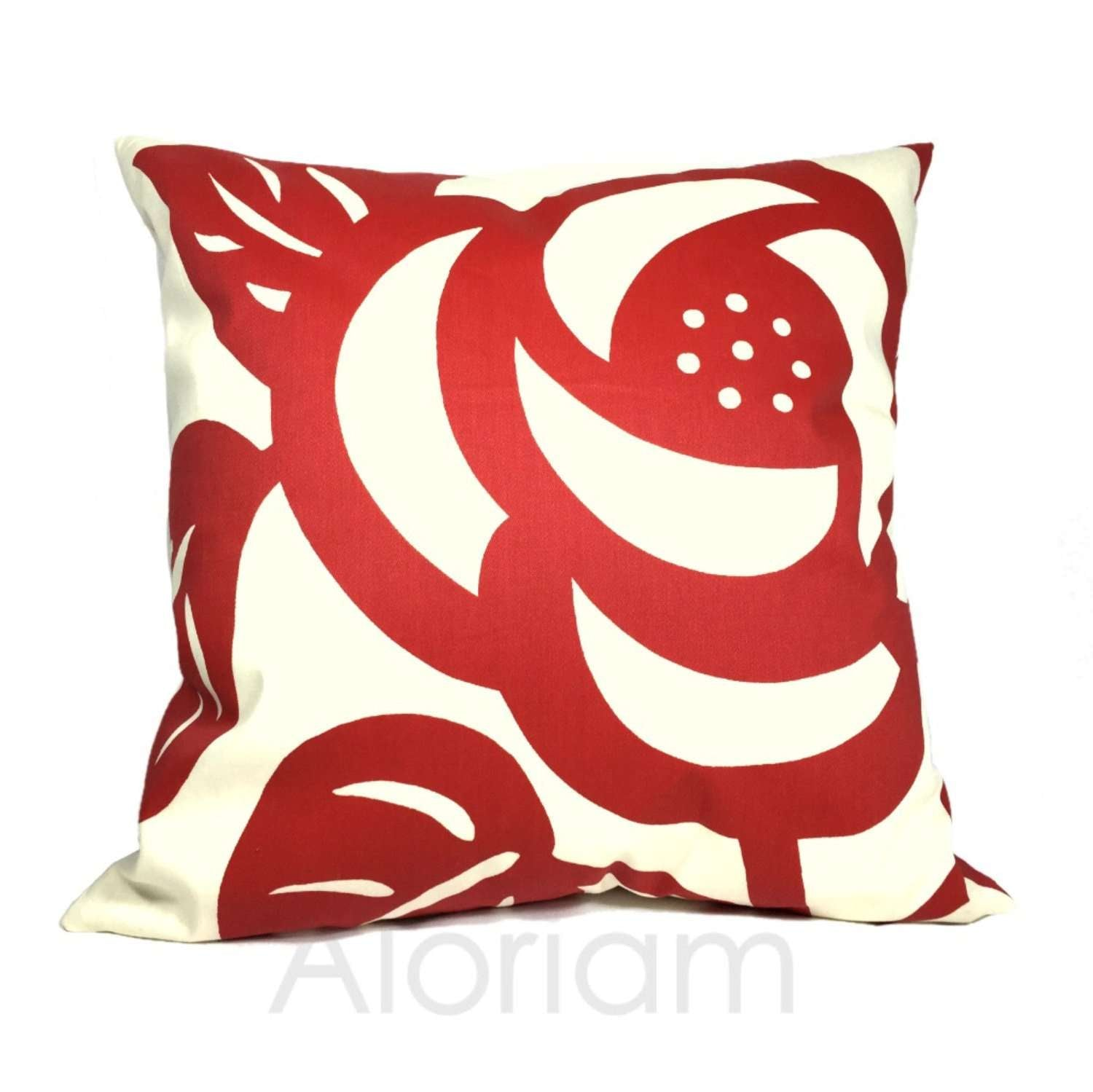 Thomas Paul Deco Rose Modern Floral Flower Print Red Cream Pillow Cushion Cover