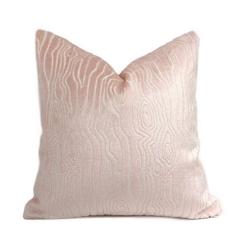 Tobi Fairley Rivers Light Pink Faux Bois Woodgrain Cut Velvet Pillow Cover Cushion Pillow Case Euro Sham 16x16 18x18 20x20 22x22 24x24 26x26 28x28 Lumbar Pillow 12x18 12x20 12x24 14x20 16x26 by Aloriam