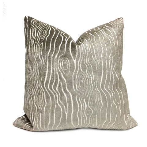 Tobi Fairley Rivers Mineral Gray Faux Bois Woodgrain Cut Velvet Pillow Cover by Aloriam
