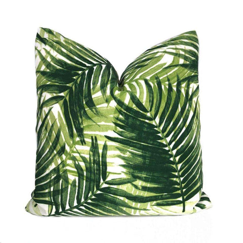 Tommy Bahama Green Cream Tropical Palm Leaves Botanical Indoor Outdoor Pillow Cover