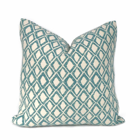 Torino Aqua Diamond Geometric Print Pillow Cover - Aloriam
