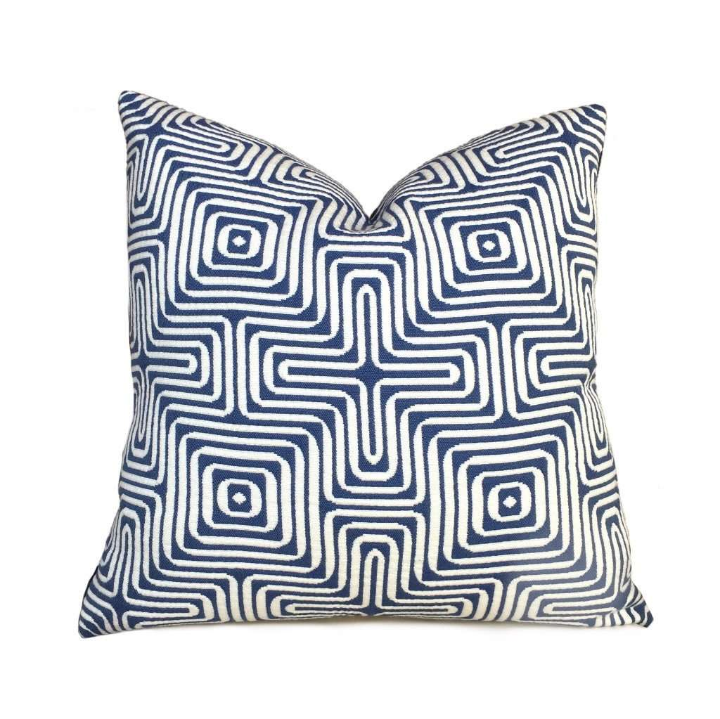 Trina Turk Schumacher Amazing Maze Blue White Geometric Pillow Cushion Cover Cushion Pillow Case Euro Sham 16x16 18x18 20x20 22x22 24x24 26x26 28x28 Lumbar Pillow 12x18 12x20 12x24 14x20 16x26 by Aloriam