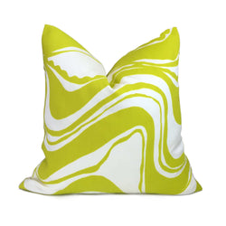 Trina Turk Schumacher Carmel Coastline Sulfur Citron Yellow White Indoor Outdoor Pillow Cover by Aloriam