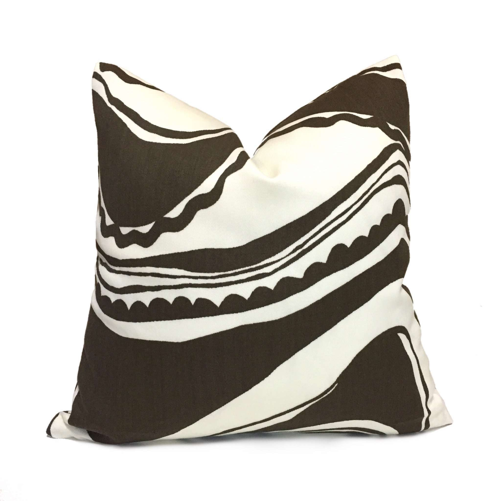 Trina Turk Schumacher Carmel Coastline Tobacco Brown White Indoor Outdoor Pillow Cover by Aloriam