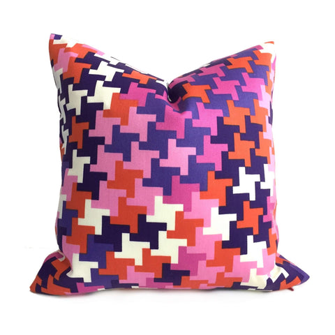 Trina Turk Schumacher Jax Modern Houndstooth Pink Purple Red Indoor Outdoor Pillow Cover Cushion Pillow Case Euro Sham 16x16 18x18 20x20 22x22 24x24 26x26 28x28 Lumbar Pillow 12x18 12x20 12x24 14x20 16x26 by Aloriam