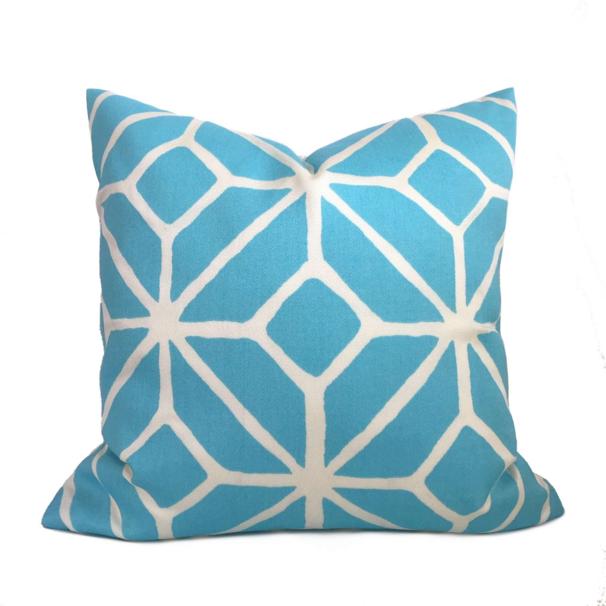 Trina Turk Schumacher Trellis Print Pool Blue White Indoor Outdoor Pillow Cover by Aloriam