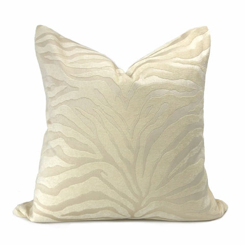 Two Tone Cream Ivory Tiger Stripe Chenille Pillow Cover - Aloriam