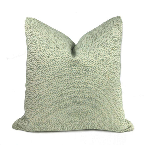 Two Tone Seaglass Green Small Pebble Dots Pillow Cover Pillow Sham 16x16 18x18 20x20 22x22 24x24 26x26 28x28