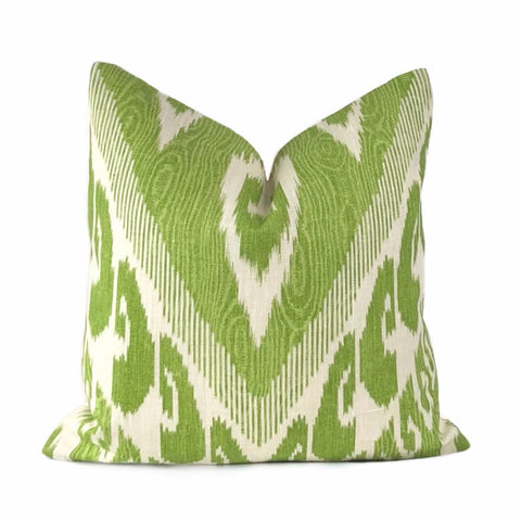 Vashti Green Cream Ikat Ethnic Linen Pillow Cover - Aloriam