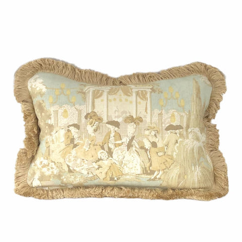 Versailles Cream Spa Blue Toile Pillow Cover with Brush Fringe Trim - Aloriam