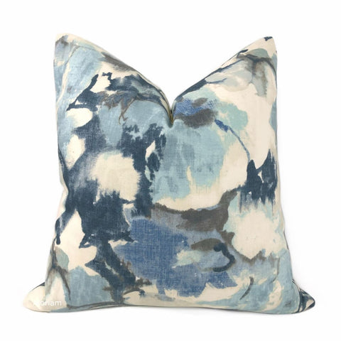 Vivian Blue Cream Modern Floral Print Pillow Cover - Aloriam