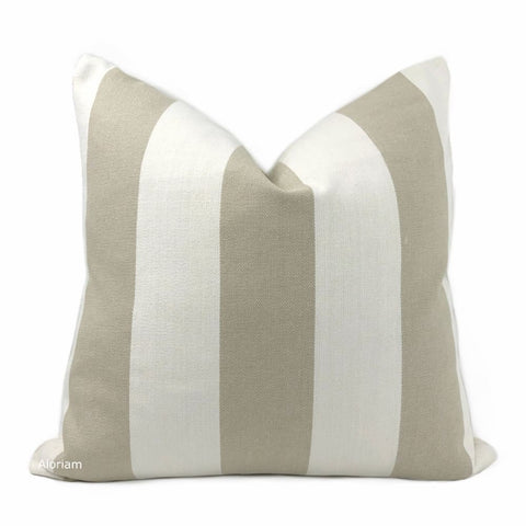 Watson Beige Off-White Wide Cabana Stripe Pillow Cover - Aloriam