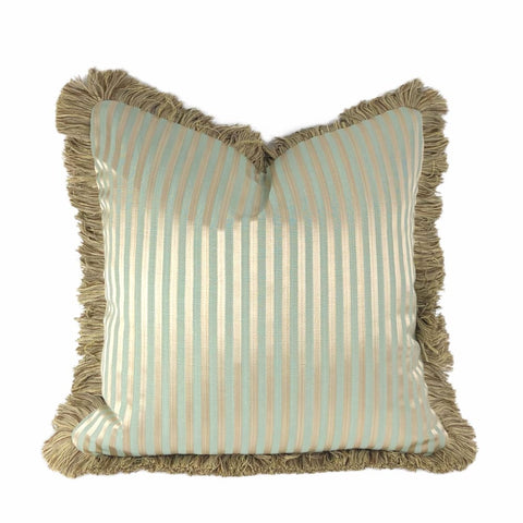 Whitfield Sage Green & Bronze Stripe Pillow Cover with Brush Fringe Trim - Aloriam