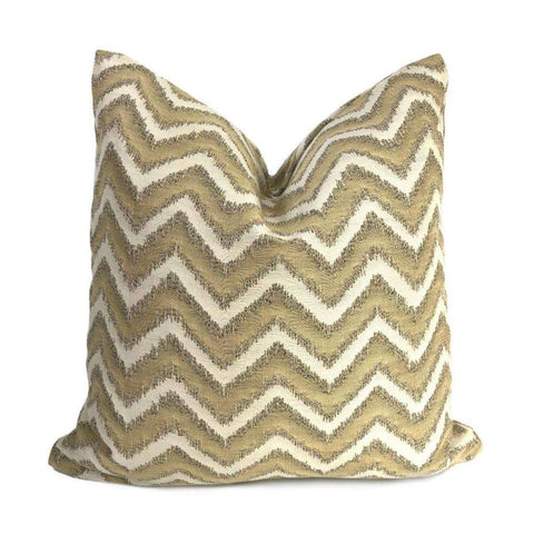 Whitmore Gold & Beige Chevron Stripe Pillow Cover