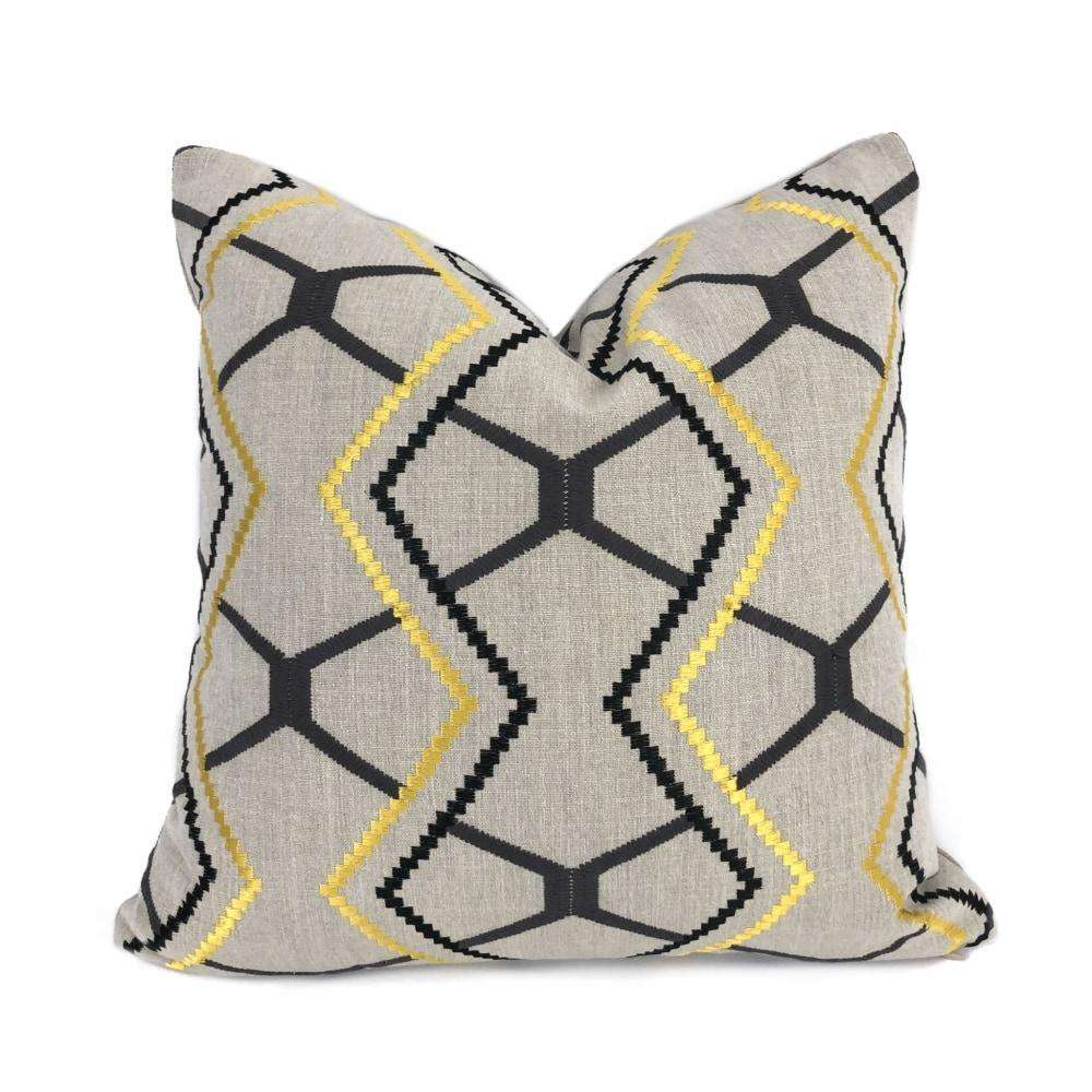 Yellow Gray Black Beige Embroidered Geometric Pillow Cover