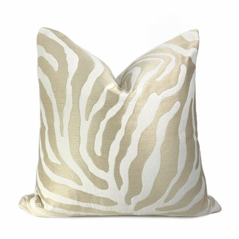 Zahar Champagne Gold & Cream Tiger Stripe Pillow Cover - Aloriam