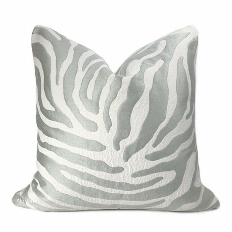 Zahar Silver Gray & Cream Tiger Stripe Pillow Cover - Aloriam